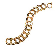 8 Polished Double Curb Link Bracelet 14K Gold, 13.8g - J270551