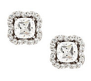 Epiphany Diamonique Cushion Cut Halo Stud Earrings - J278651