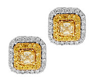 AffinityDiamond 1/2 ct tw Natural Yellow Halo Stud Earrings, 14K - J279751