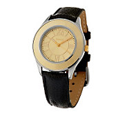 Vicence Round Satin Finish Bezel Black Leather Strap Watch, 14K - J277552