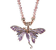 Kirks Folly Saphaedra Butterfly Enhancer on Bead Necklace - J264253