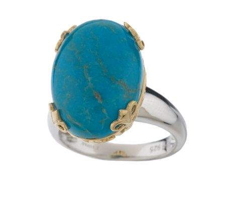 Sterling and Gold Tone Oval Turquoise Ring —