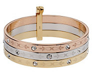 Melania Set of 3 Tri-Color Bangle Bracelets - J159954