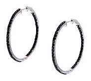 1.50 ct tw Black Spinel Inside-Out 1 Sterling Hoop Earrings - J280754