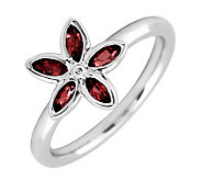 Simply Stacks Sterling & Garnet Romantic FlowerRing - J299455