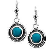 Or Paz Sterling Turquoise Textured Disc DangleEarrings - J305055