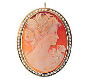 Estate Jewelry Shell Portrait Cameo & Pearl Pendant/Pin, 14K - J312156
