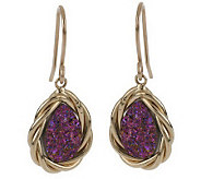 VicenzaGold Pear Shaped Drusy Quartz Earrings 14K Gold - J261657