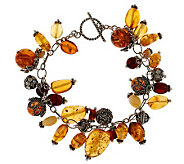 Artisan Crafted 7-1/4 Baltic Amber and Sterl Bead Charm Bracelet - J272857