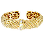 Judith Ripka 14K Gold Clad Diamonique Textured Cuff - J279958