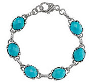 Judith Ripka Sterling Monaco Gemstone and Diamonique Average Bracele - J269259