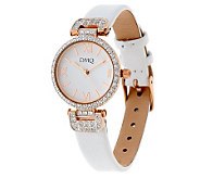 Diamonique 9/10 ct tw Round Leather Strap Watch - J273860