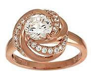 Diamonique Love Knot Ring, Sterling or 14K Clad - J279760