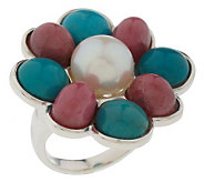 As Is Sterling Mult-Gemstone Flower Ring - J274462