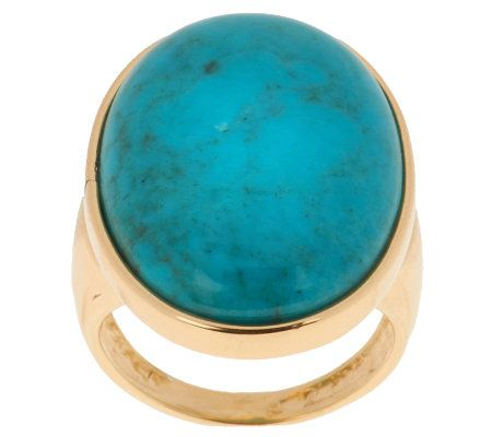 Veronese 18K Clad Bold Oval Turquoise Ring —