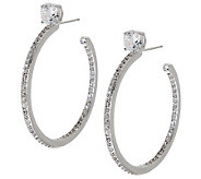 Epiphany Diamonique 1-1/2 Stud Style Hoop Earring - J271664