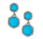 Judith Ripka Eclipse Turquoise and Diamonique Drop Earrings - J269765