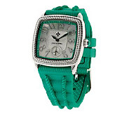 Judith Ripka Stainless Steel and Pearlized Silicone Strap Watch - J280165