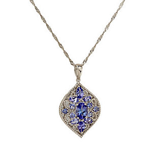 2.25 ct tw Tanzanite Multi-shape Cluster SterlingPendant