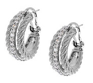 Judith Ripka Sterling 3/4 Textured Diamonique Hoop Earrings - J269266