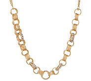 Susan Graver Textured Link Necklace with Crystal Accent - J271366