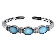 Judith Ripka Sterling and Turquoise Doublet Hinged Cuff - J267168