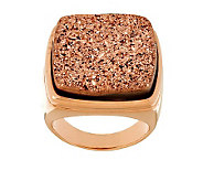 Bronzo Italia Bold Cushion Shape Drusy Quartz Ring - J272568