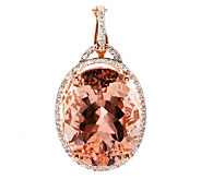 Premier 16.00 ct Morganite & Diamond Pendant, 14K - J279068