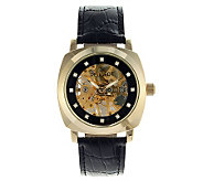 Peugeot Mens Goldtone Case Mechanical SkeletonWatch - J312670