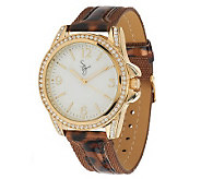 Susan Graver Animal Print Strap Watch with Crystal Accents - J271273