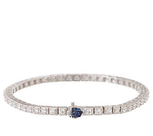 Judith Ripka Sterling 1.75ct Diamonique Smal Tennis Bracelet w/Blue Sapphire