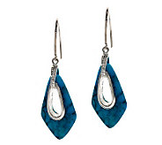 Nacozari Turquoise Sterling Hammered Dangle Earrings - J275874