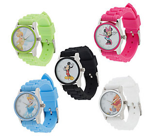 Disney Set of 5 Silicone Strap Watches in IndividualBoxes