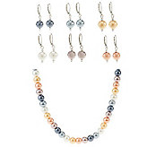 Set of 6 Simulated Pearl Earrings & Necklace Set - J263676