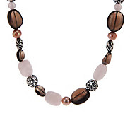 Carolyn Pollack Gemstone and Cultured Pearl 16 Sterling Toggle Neckalce - J279177