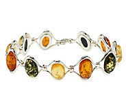 Artisan Crafted Sterling Multi- Color Baltic Amber Bracelet - J273478