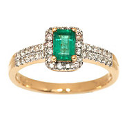 0.45 ct Zambian Emerald & 1/5 ct tw Diamond Ring 14K Gold - J280178