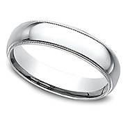 Sterling Silver Milgrain 4MM Unisex Wedding Band Ring - J309978