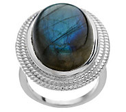 Bold Oval Labradorite Sterling Ring - J265479