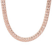 Bronzo Italia 16 Textured & Diamond Cut Mesh Round Necklace - J274381