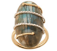 Oval Labradorite Cabochon Wrapped Overlay Ring, 14K Gold - J266983