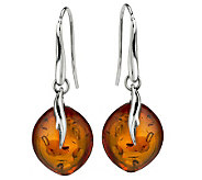 Orange Baltic Amber Leaf Design Sterling Earrings - J268583
