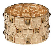 Shoshanna Quilted Design Color Crystal Accent Stretch Bracelet - J158884