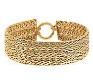 8 Polished Triple Row Woven Bracelet 14K Gold, 18.1g - J276384
