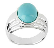 Oval Turquoise Sculpted Sterling Band Ring - J268286