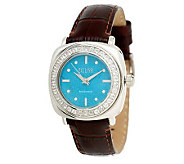 Ecclissi Sterling Turquoise & White Topaz Leather Watch - J265788