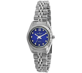 Peugeot Womens Silvertone Blue Dial Ribbed Bracelet Watch