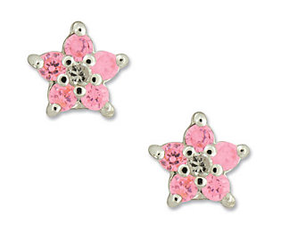 Disney Diamonique Sterling Princess Pink FlowerStud Earrings