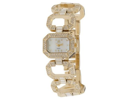 Melania Champs-Elysees Pave' Crystal Open Link Bracelet Watch