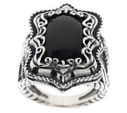 Carolyn Pollack Silver Rodeo Sterling & Onyx Ring - J275192